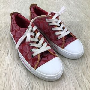 Coach Red Jacquard Woven Logo Sneakers
